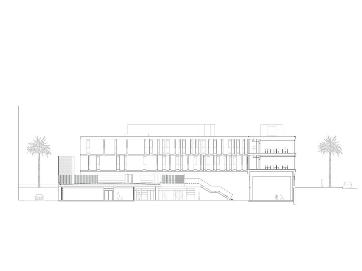 Escuela en la Barceloneta. Sección arquitectónica